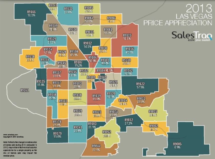 See Las Vegas Appreciation Map By Zipcode 2012 To 2013 It S Here